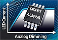 The AL8807A is an enhancement of Diodes' low EMI buck high brightness LED driver AL8807. It extends the analog dimming range in excess of 10:1 while providing protection against a number of potential lamp faults.