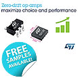 STMicroelectronics TSZ121 family of zero-drift op amps deliver superior performance in popular packages and small-outline alternatives, offering industry-leading choice, accuracy, and precision for Internet-of-Things (IoT) or wearable-device applications.