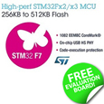 STMicroelectronics has introduced new STM32F7 microcontroller lines and added accessories and options to the development ecosystem, easing access to high-performance embedded design based on the ARM<sup>®</sup> Cortex<sup>®</sup> -M7 core.