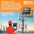 Wideband Microwave Synthesizer from Analog Devices Delivers Industry Leading Phase Noise, Output Power and Spur Performance with Operation from 55 MHz to 15 GHz